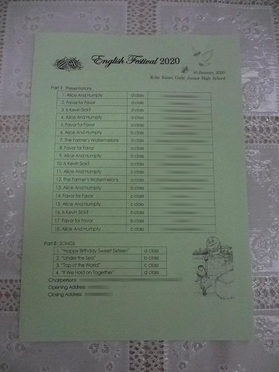 ブログ写真 中1English Festival.JPG